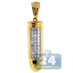 14K Yellow Gold 0.61 ct Diamond Bullet Mens Pendant