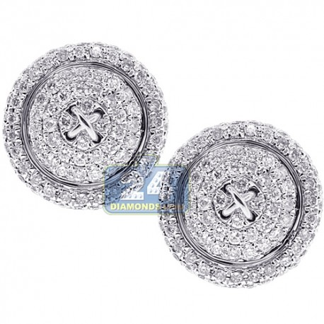 14K White Gold 1.23 ct Diamond Round Mens Button Cuff Links