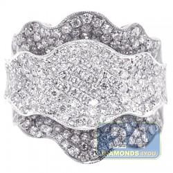 14K White Gold 2.85 ct Diamond Flower Womens Band Ring