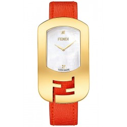 F300434574D1 Fendi Chameleon Yellow Gold Case Fuchsia Strap Watch 29mm