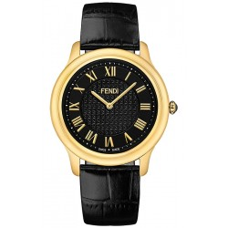 F250411011 Fendi Classico Large Round Black DIal Gold Watch 40mm