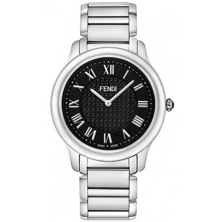 F251011000 Fendi Classico Large Round Black Dial Steel Watch 40mm