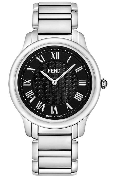 7a2946dc5ef5 F251011000 Fendi Classico Large Round Black Dial Steel Watch 40mm
