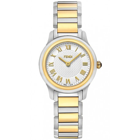 F251124000 Fendi Classico Small Round Two Tone Steel Watch 28mm