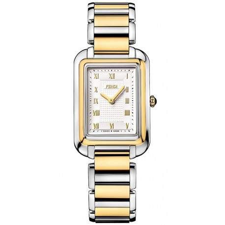 F701134000 Fendi Classico Medium Rectangular Two Tone Watch 25mm