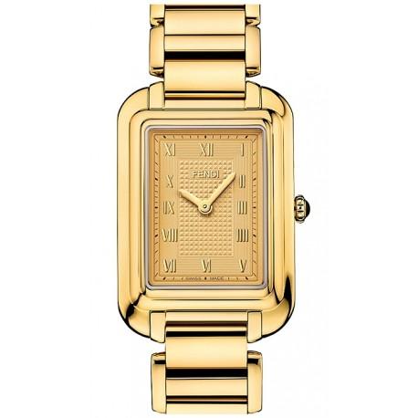 F701435000 Fendi Classico Medium Rectangular Yellow Gold Watch 25mm