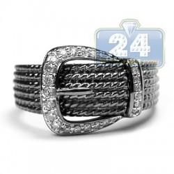 Black PVD 14K Gold 0.30 ct Diamond Womens Buckle Ring