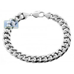 10K White Gold Puff Miami Cuban Mens Bracelet 11 mm 9 1/4 Inches