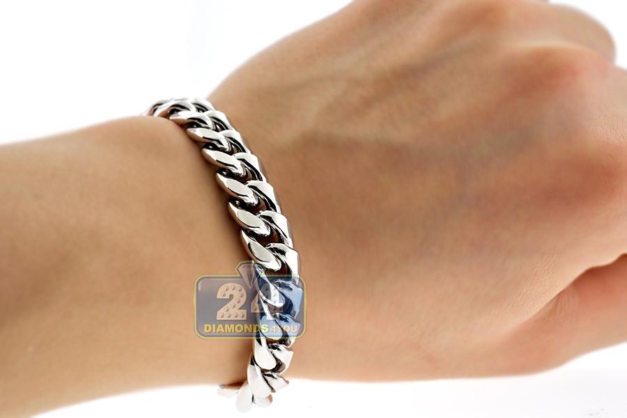 10k white gold hollow miami cuban link mens bracelet 11mm. Black Bedroom Furniture Sets. Home Design Ideas
