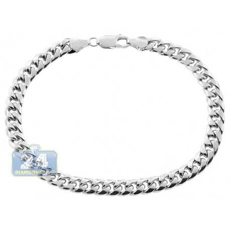 10K White Gold Hollow Miami Cuban Link Mens Bracelet 6.5mm 9""