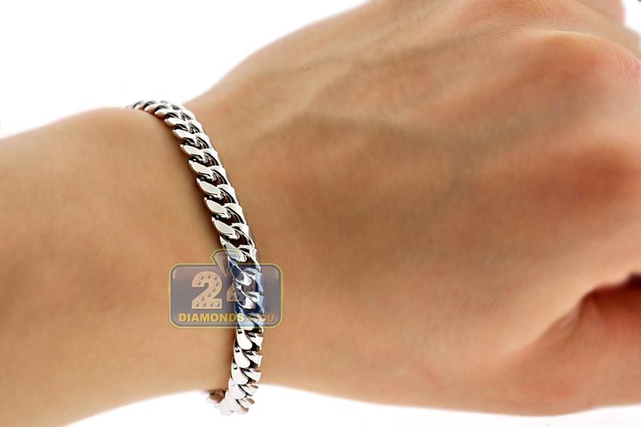 10k white gold hollow miami cuban link mens bracelet 9. Black Bedroom Furniture Sets. Home Design Ideas
