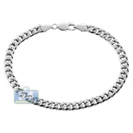 10K White Gold Hollow Miami Cuban Link Mens Bracelet 6 mm 8 1/2 Inches