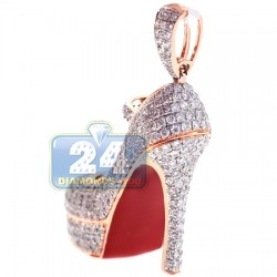 14K Rose Gold 2.90 ct Diamond Red Sole Shoe Pendant
