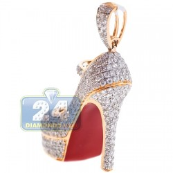 14K Yellow Gold 2.91 ct Diamond Red High Heel Shoe Pendant