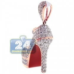 14K Rose Gold 2.01 ct Diamond Red Sole Shoe Womens Pendant