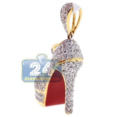 Womens Diamond Red Sole High Heel Shoe Pendant 14K Yellow Gold