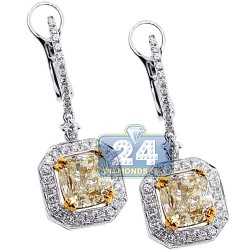 18K Gold 4.67 ct Fancy Yellow Diamond Womens Dangle Earrings