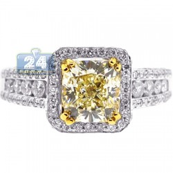 Womens Fancy Yellow Diamond Engagement Ring 18K Gold 2.85 ct