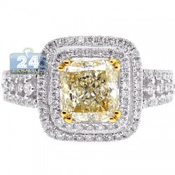 Womens Fancy Yellow Diamond Engagement Halo Ring 18K White Gold