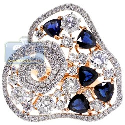 18K Rose Gold 6.69 ct Diamond Blue Sapphire Womens Flower Ring