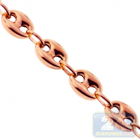 Italian 10K Rose Gold Hollow Mariner Anchor Link Mens Chain 8mm