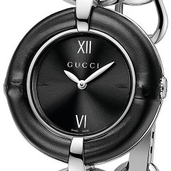 Gucci Bamboo Black Dial Steel Quartz Womens Watch YA132405