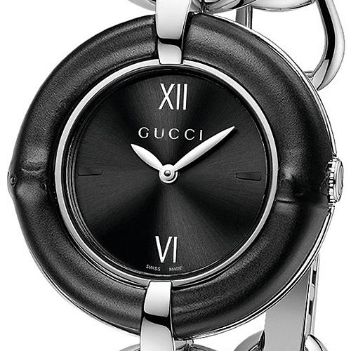 6d9a7941784 Gucci Bamboo Black Dial Steel Quartz Womens Watch YA132405