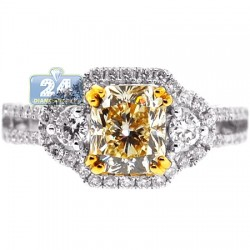 Womens Cushion Yellow Diamond Engagement Ring 18K Gold 2.57 ct