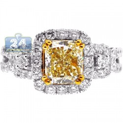 Womens Fancy Yellow Diamond Engagement Ring 18K Gold 3.14 ct