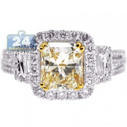 Womens Fancy Yellow Diamond Engagement Ring 18K Gold 2.86 ct