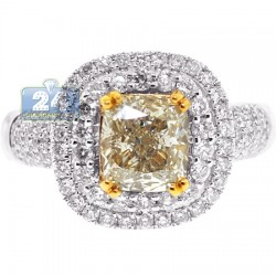 Womens Yellow Cusion Diamond Engagement Ring 18K Gold 2.82 ct