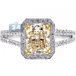 Womens Cushion Fancy Diamond Engagement Ring 18K White Gold