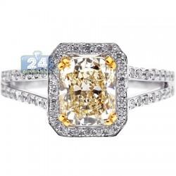 18K Gold 2.63 ct Fancy Yellow Cushion Diamond Womens Engagement Ring