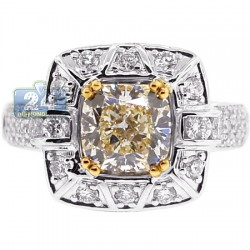 Womens Fancy Yellow Diamond Halo Engagement Ring 18K White Gold
