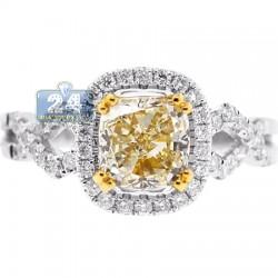 18K Gold 2.49 ct Fancy Yellow Cushion Diamond Womens Engagement Ring