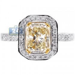 18K Gold 2.27 ct Fancy Yellow Emerald Diamond Womens Engagement Ring