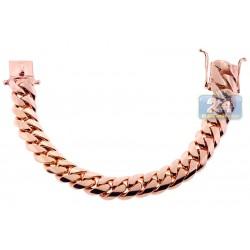 10K Rose Gold Miami Cuban Link Mens Bracelet 15 mm 9 1/2 Inches