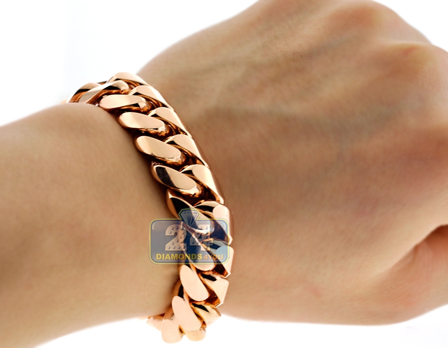 Solid 10K Rose Gold Miami Cuban Link Mens Bracelet 15 mm 9.5\