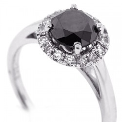 14K White Gold 1.93 ct Black Diamond Womens Engagement Ring
