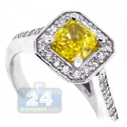 14K White Gold 1.42 ct Radiant Yellow Diamond Womens Engagement Ring