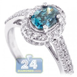 18K White Gold 3.07 ct Oval Blue Diamond Womens Engagement Ring