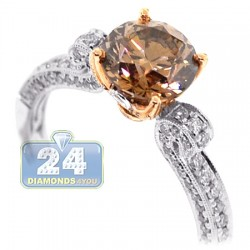 18K Gold 1.93 ct Round Brown Diamond Womens Engagement Ring