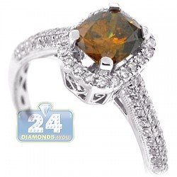 18K White Gold 1.52 ct Cushion Brown Diamond Womens Engagement Ring