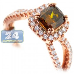 14K Rose Gold 1.74 ct Cushion Brown Diamond Engagement Ring