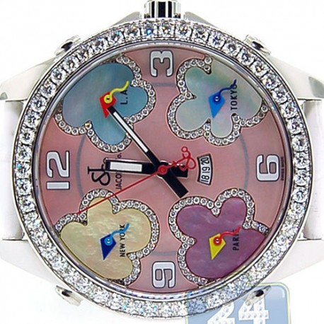 Jacob & Co Five Time Zone Diamond Bezel 47 mm Watch JC-ATH2