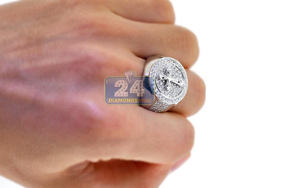 mens diamond cross round pinky ring 14k white gold ct. Black Bedroom Furniture Sets. Home Design Ideas
