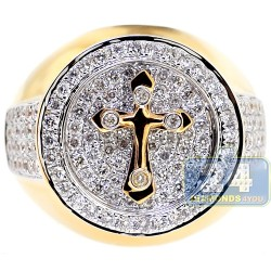 14K Yellow Gold 1.69 ct Diamond Mens Cross Ring
