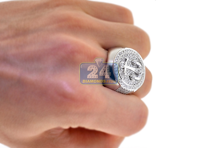 Mens Diamond Anchor Mariner Round Ring 14k White Gold 1 84 Ct