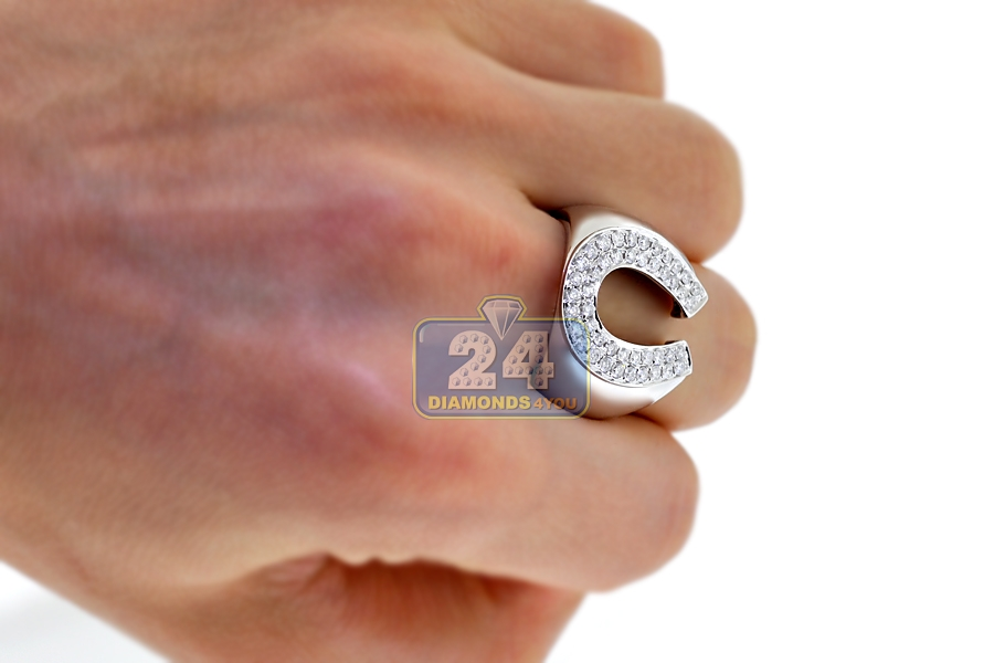 Mens Diamond Horseshoe Luck Ring 14K White Gold 1 05 ct