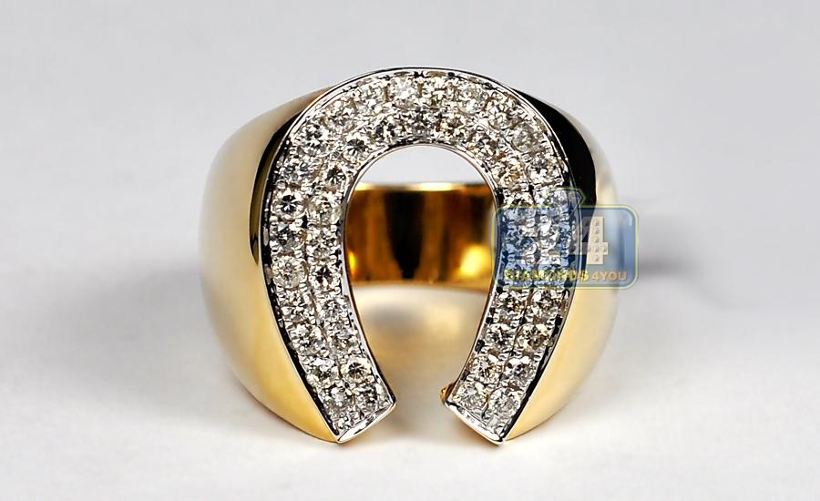 Mens Diamond Horseshoe Luck Ring 14K Yellow Gold 1 06 ct